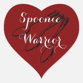 Pegatina En Forma De Corazón Pegatinas del corazón del guerrero de Spoonie