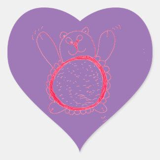 Pegatina En Forma De Corazón Pegatinas del corazón del oso del girasol