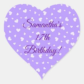 Pegatina En Forma De Corazón Pegatinas del cumpleaños de los corazones púrpuras