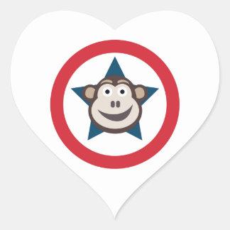 Pegatina En Forma De Corazón Pegatinas estupendos del mono (corazones)