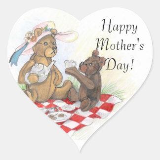 Pegatina En Forma De Corazón Pegatinas felices del día de madre de Picnic~ del