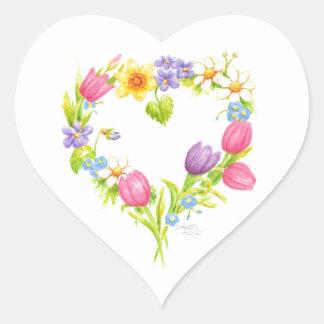 Pegatina En Forma De Corazón Pegatinas florales del corazón de la acuarela