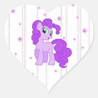 Pegatina En Forma De Corazón Pegatinas púrpuras lindos del potro para las niñas