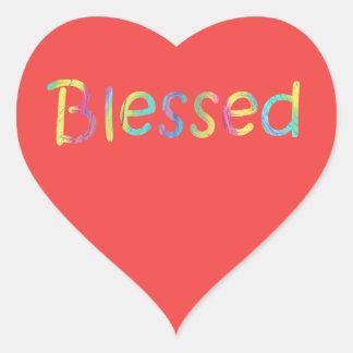Pegatina En Forma De Corazón Pegatinas rojos bendecidos palabra colorida del