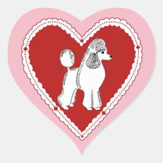 Pegatina En Forma De Corazón Pegatinas rosados y rojos del caniche blanco del