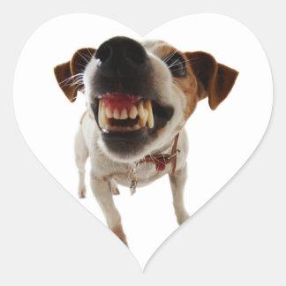 Pegatina En Forma De Corazón Perro agresivo - perro enojado - perro divertido
