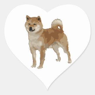 Pegatina En Forma De Corazón Perro de Shiba Inu