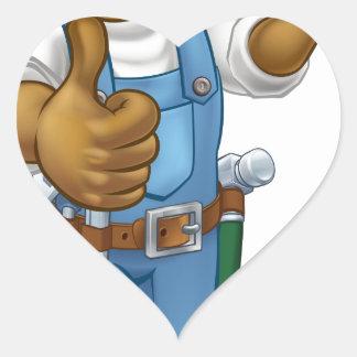 Pegatina En Forma De Corazón Personaje de dibujos animados negro del decorador