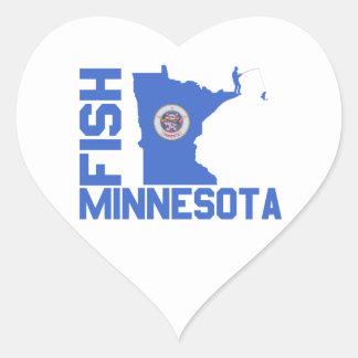 Pegatina En Forma De Corazón Pescados Minnesota