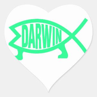 Pegatina En Forma De Corazón Pescados originales de Darwin (Seafoam)