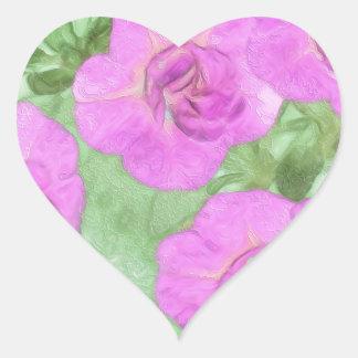 Pegatina En Forma De Corazón Petunias pintadas
