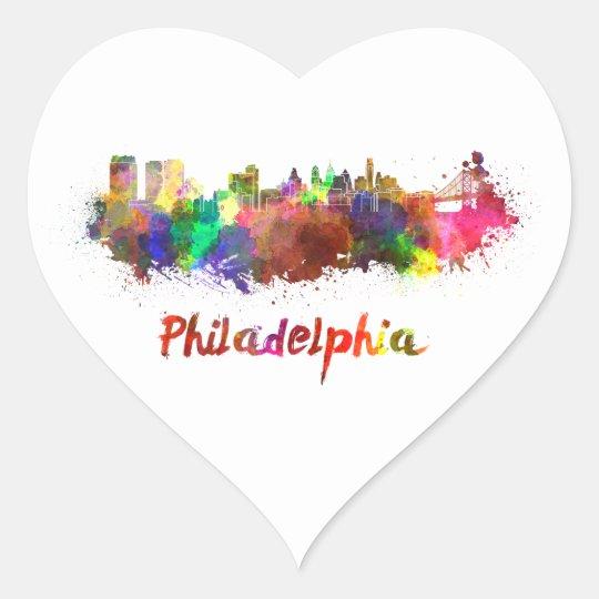 Pegatina En Forma De Corazón Philadelphia skyline in watercolor