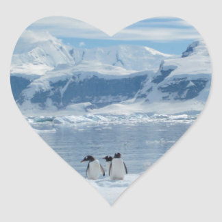 Pegatina En Forma De Corazón Pingüinos en un iceberg
