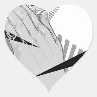Pegatina En Forma De Corazón Pintada de rogación de las manos