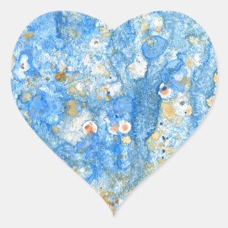 Pegatina En Forma De Corazón Pintura azul abstracta