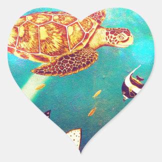 Pegatina En Forma De Corazón Pintura colorida de la tortuga de mar del océano