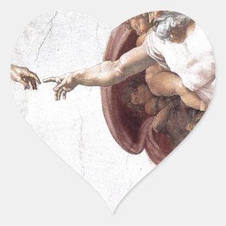 Pegatina En Forma De Corazón Pintura original de Miguel Ángel en la capilla