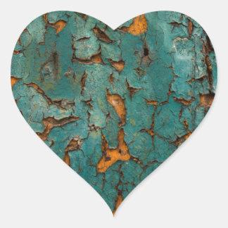 Pegatina En Forma De Corazón Pintura verde azulada y amarilla de la peladura