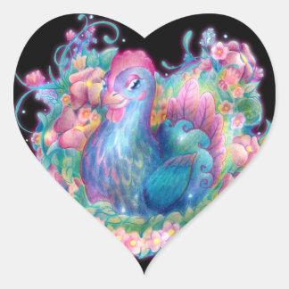 Pegatina En Forma De Corazón Pollo y flores hermosos