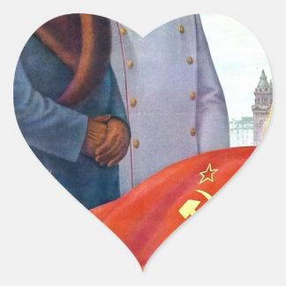 Pegatina En Forma De Corazón Propaganda original Mao Zedong y Joseph Stalin
