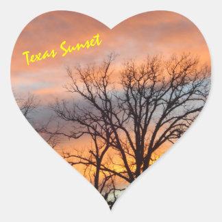 Pegatina En Forma De Corazón Puesta del sol de Tejas