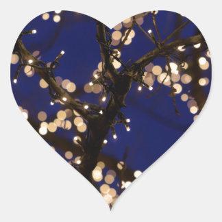 Pegatina En Forma De Corazón Ramas con las luces de navidad