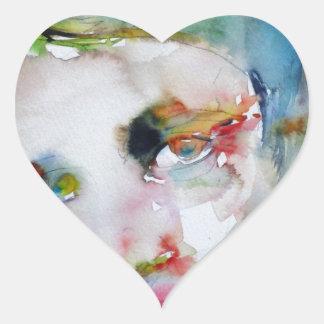 Pegatina En Forma De Corazón rand del ayn - retrato de la acuarela