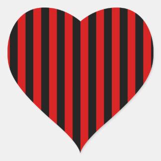 Pegatina En Forma De Corazón Rayas finas - negro y Rosso Corsa