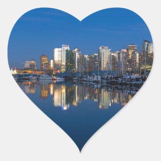 Pegatina En Forma De Corazón Reflexión azul de la hora de Vancouver A.C.