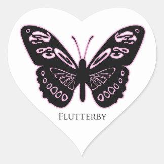 Pegatina En Forma De Corazón Resplandor rosado negro de Flutterby