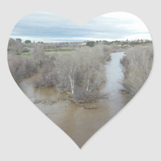 Pegatina En Forma De Corazón Río de las salinas según lo visto del puente de