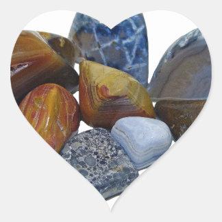 Pegatina En Forma De Corazón Rocas pulidas