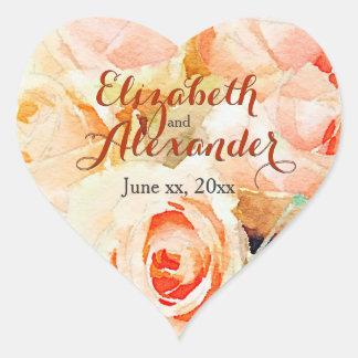 Pegatina En Forma De Corazón Rosas del melocotón de la acuarela con nombres