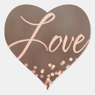 Pegatina En Forma De Corazón Ruborícese y broncee el amor del confeti