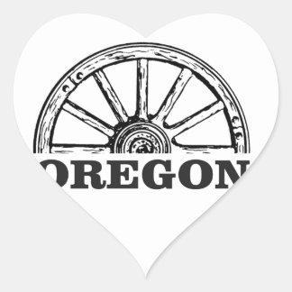 Pegatina En Forma De Corazón rueda simple del rastro de Oregon