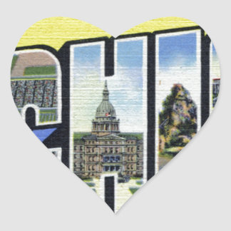 Pegatina En Forma De Corazón Saludos de Michigan