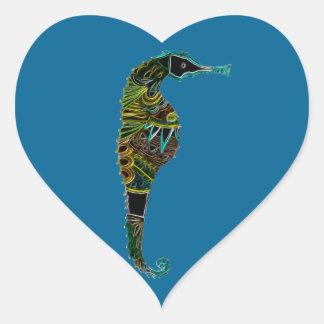 Pegatina En Forma De Corazón Seahorse de neón