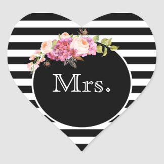 Pegatina En Forma De Corazón Señora con las rayas y las flores negras y blancas