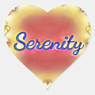 Pegatina En Forma De Corazón Serenidad enmarcada inspirada amarilla color de