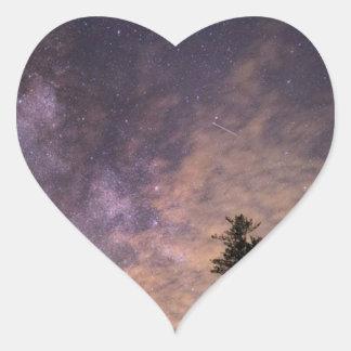 Pegatina En Forma De Corazón Silueta de árboles en la noche