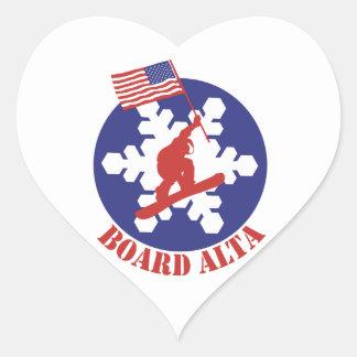Pegatina En Forma De Corazón Snowboard Alta