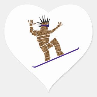 Pegatina En Forma De Corazón Snowboarder