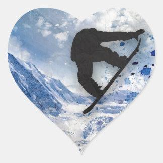 Pegatina En Forma De Corazón Snowboarder en vuelo