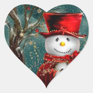Pegatina En Forma De Corazón Snowmans lindos - ilustracion del muñeco de nieve