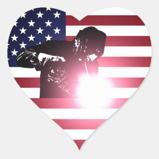 Pegatina En Forma De Corazón Soldador y bandera americana