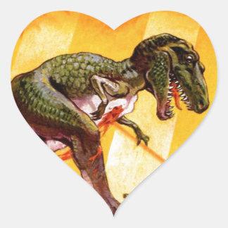 Pegatina En Forma De Corazón T-Rex contra el tanque de Sherman
