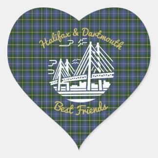 Pegatina En Forma De Corazón Tartán de los mejores amigos de Nueva Escocia