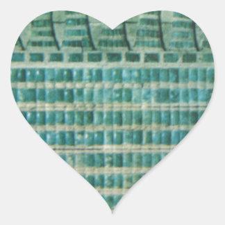 Pegatina En Forma De Corazón tejas azules del trullo