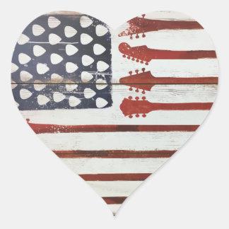Pegatina En Forma De Corazón Tema patriótico de la música de la guitarra de la