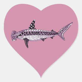 Pegatina En Forma De Corazón Tiburón de Hammerhead